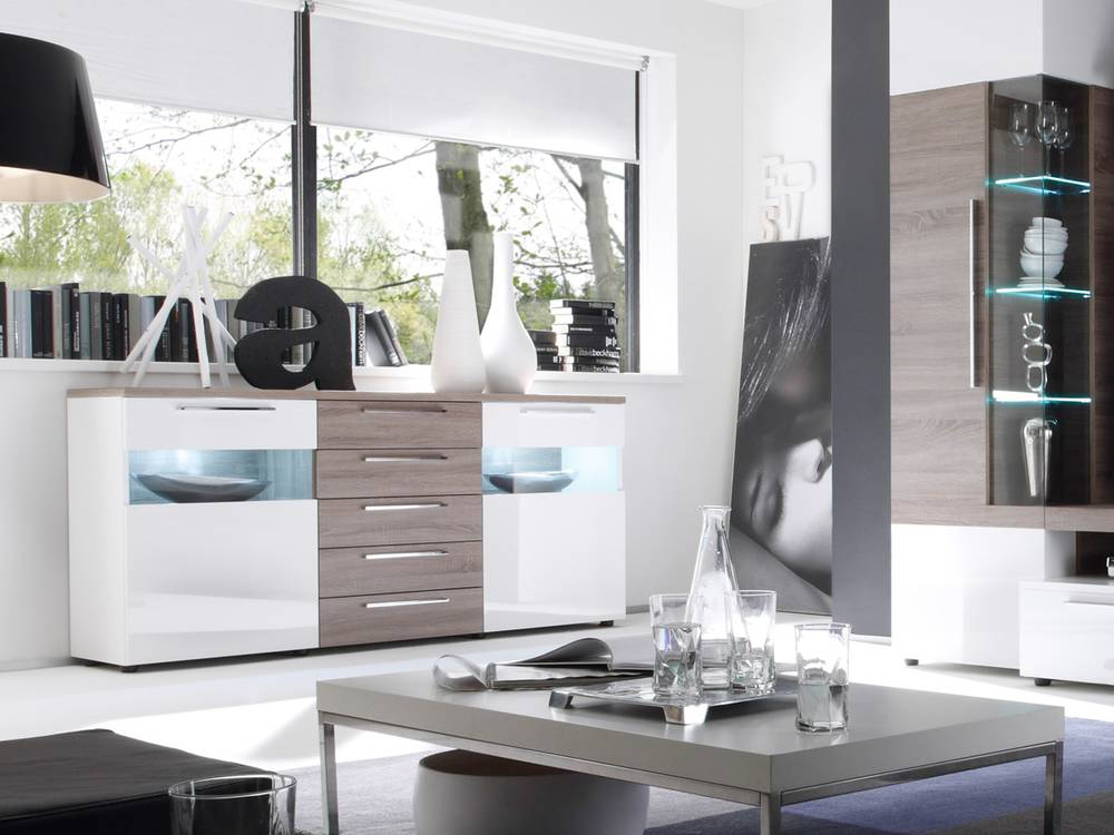 cosmos sideboard vitrine wohnzimmer schrank kommode wei. Black Bedroom Furniture Sets. Home Design Ideas
