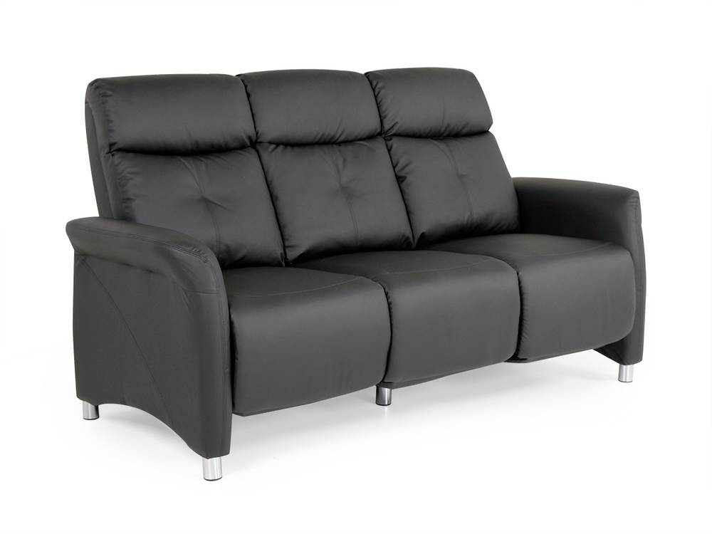cushy sofa 3 sitzer polstersofa couch kunstleder schwarz inkl 6 relaxfunktionen ebay. Black Bedroom Furniture Sets. Home Design Ideas