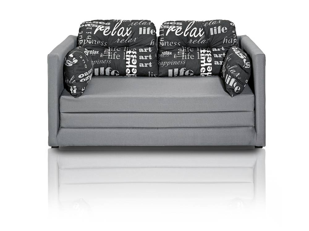 davos ausziehbares kindersofa schlafsofa kindercouch sofa couch grau inkl kissen ebay. Black Bedroom Furniture Sets. Home Design Ideas