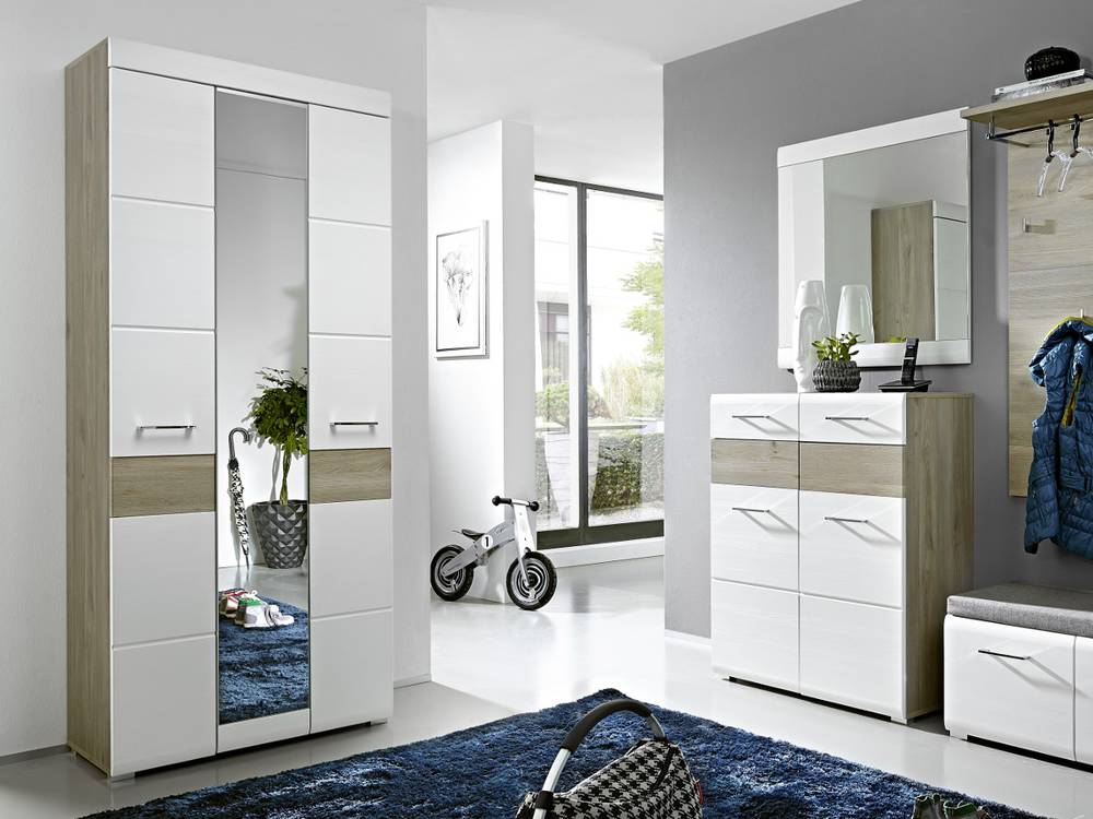 fun garderobenschrank weiss silbereiche. Black Bedroom Furniture Sets. Home Design Ideas