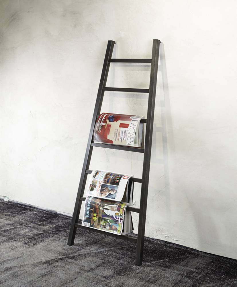 grey leiter zeitungshalter 9 stufen blacksmith schwarz stahl. Black Bedroom Furniture Sets. Home Design Ideas