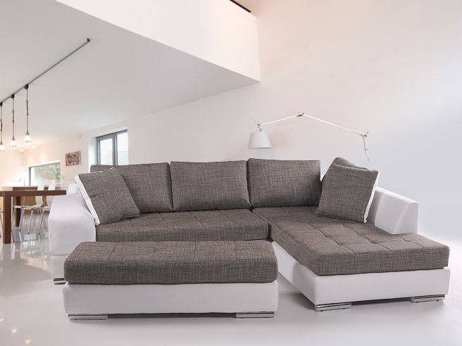 hugo sofa couch eckcouch kunstleder wei weiss strukturstoff ottomane rechts. Black Bedroom Furniture Sets. Home Design Ideas
