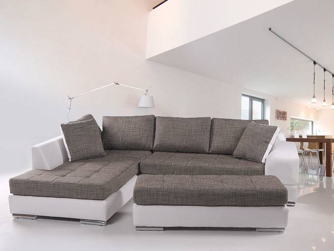 hugo sofa kunstleder weiss webstoff grau couch ottomane links oder rechts ebay. Black Bedroom Furniture Sets. Home Design Ideas