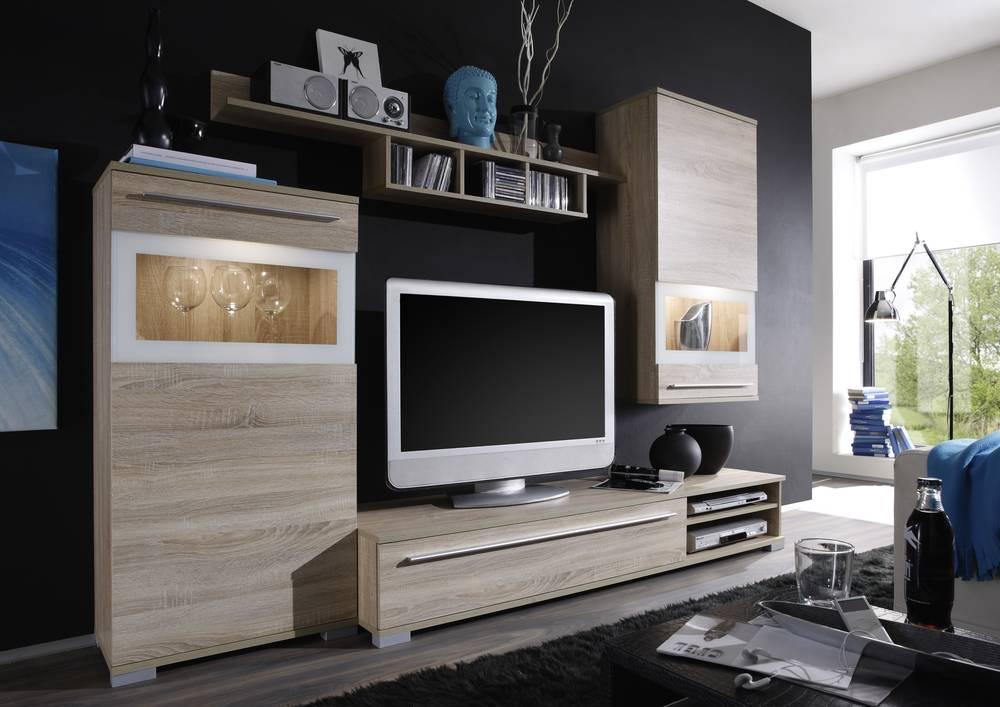 jam wohnwand wohnzimmerwand anbauwand 4 teile eiche sonoma wei lackiert ebay. Black Bedroom Furniture Sets. Home Design Ideas
