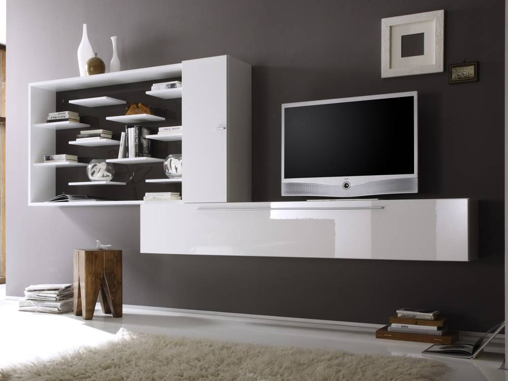 jolly wohnwand c anbauwand hochglanz weiss lackiert weiss anthrazit. Black Bedroom Furniture Sets. Home Design Ideas