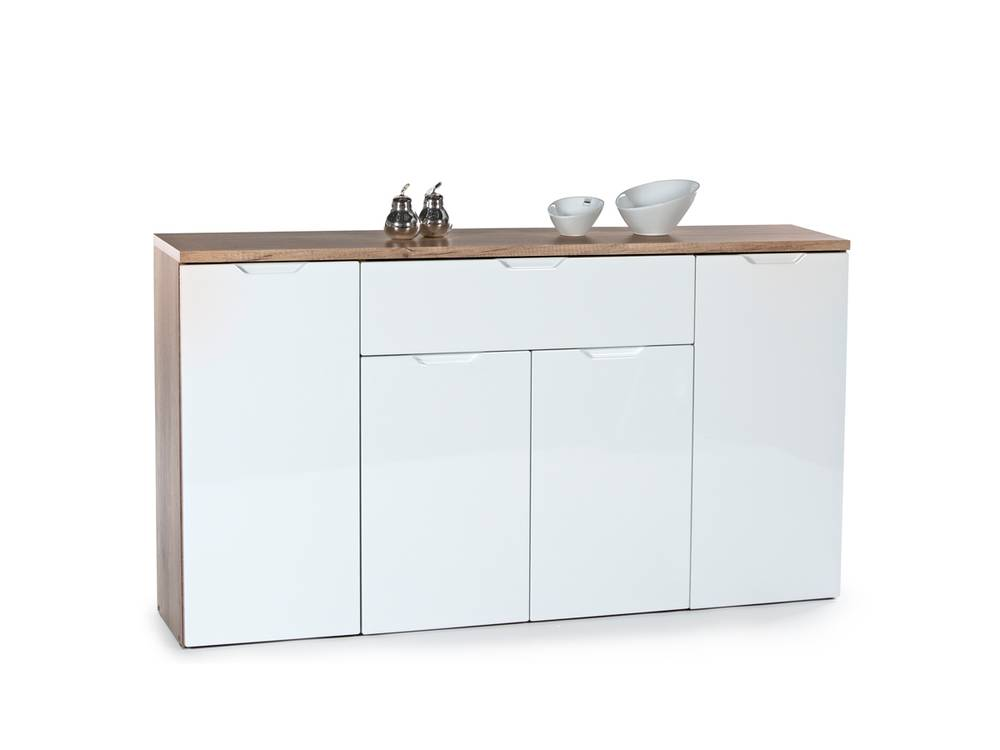 joy kommode 3 sideboard schrank stauraumelement wohnzimmer eiche sonoma weiss ebay. Black Bedroom Furniture Sets. Home Design Ideas