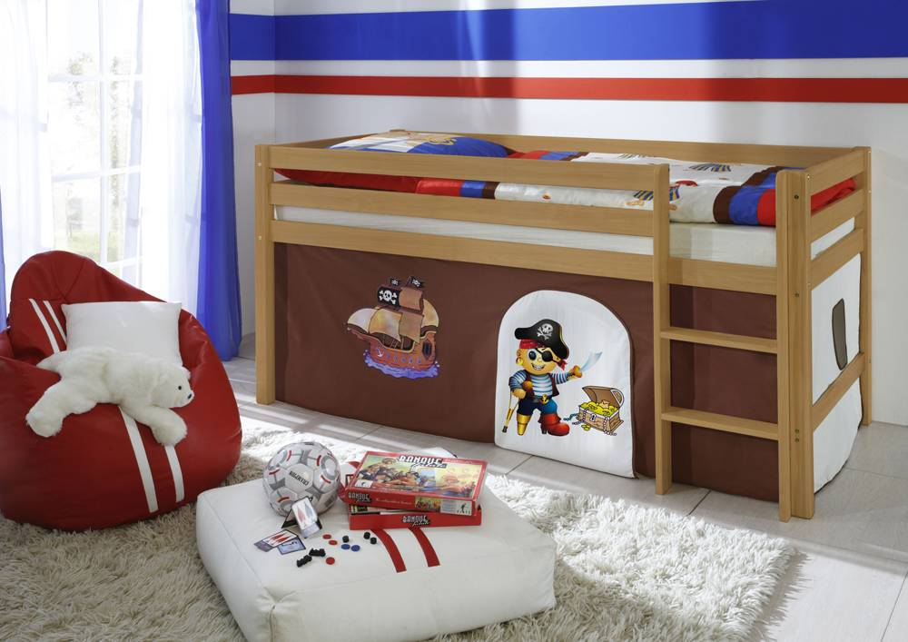 hochbett kira buche natur vorhang pirat braun. Black Bedroom Furniture Sets. Home Design Ideas