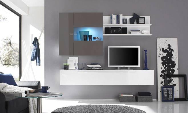wohnzimmer wand grau:Wohnzimmer wand grau : Wohnwand Anbauwand Wohnzimmer Wand Hochglanz