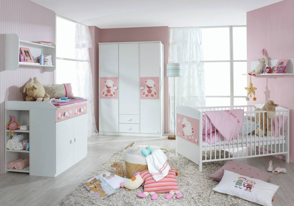 betti babyzimmer 3tlg wei rosa. Black Bedroom Furniture Sets. Home Design Ideas
