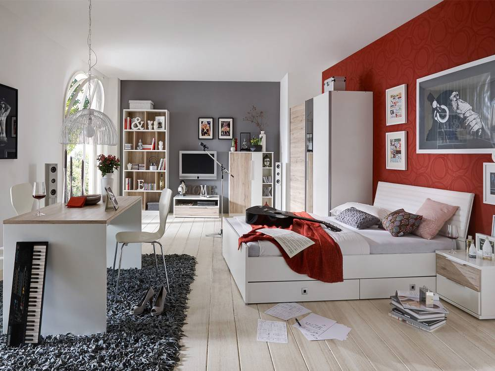 jugendzimmer coul i weiss eiche sanremo. Black Bedroom Furniture Sets. Home Design Ideas