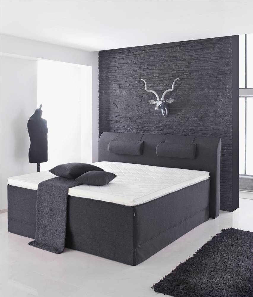 lani xxl boxspringbett doppelbett inkl topmatratze anthrazit ohne kopfteil kopfpolster. Black Bedroom Furniture Sets. Home Design Ideas