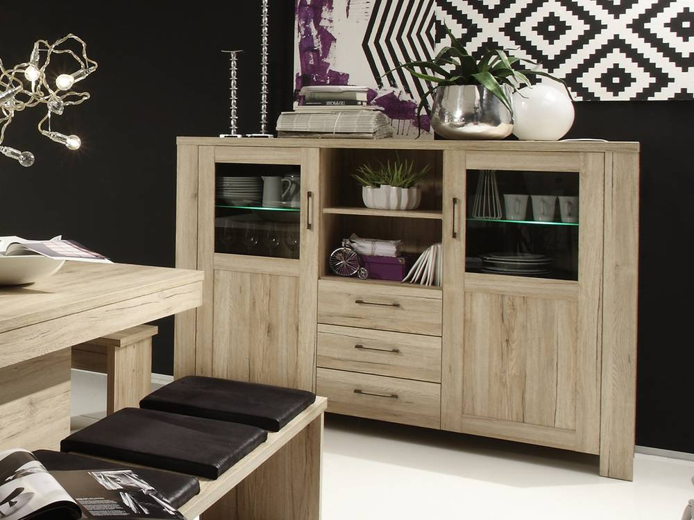 leroy highboard vitrine kommode schrank esszimmer k che. Black Bedroom Furniture Sets. Home Design Ideas