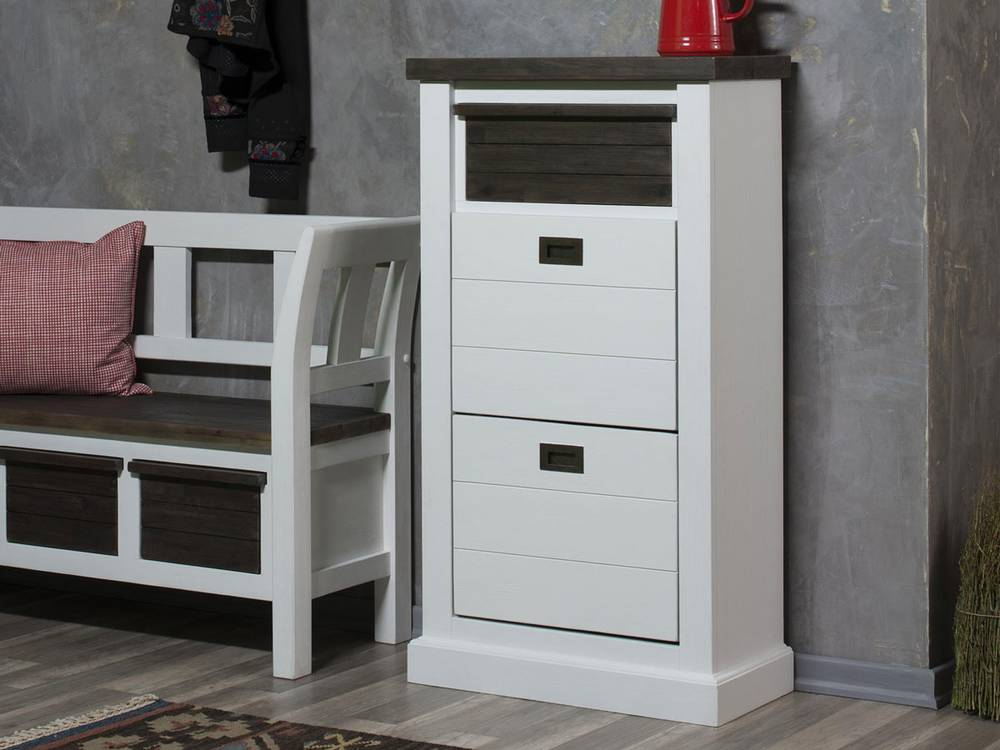 loft schuhschrank schuhkommode garderobenm bel diele flur akazie massiv lackiert ebay. Black Bedroom Furniture Sets. Home Design Ideas