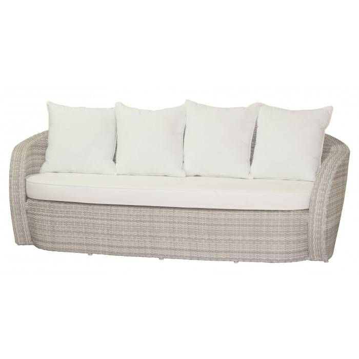 lotus 3 sitzer geflecht gartenbank garten bank gartenm bel lounge wei m kissen ebay. Black Bedroom Furniture Sets. Home Design Ideas
