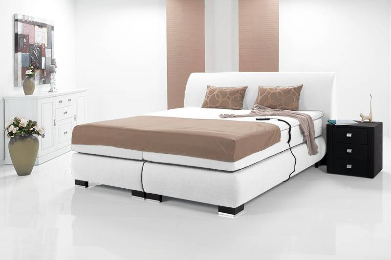 luxus elektrisches boxspringbett polsterbett hotelbett 180x200 hg 2 weiss wei ebay. Black Bedroom Furniture Sets. Home Design Ideas