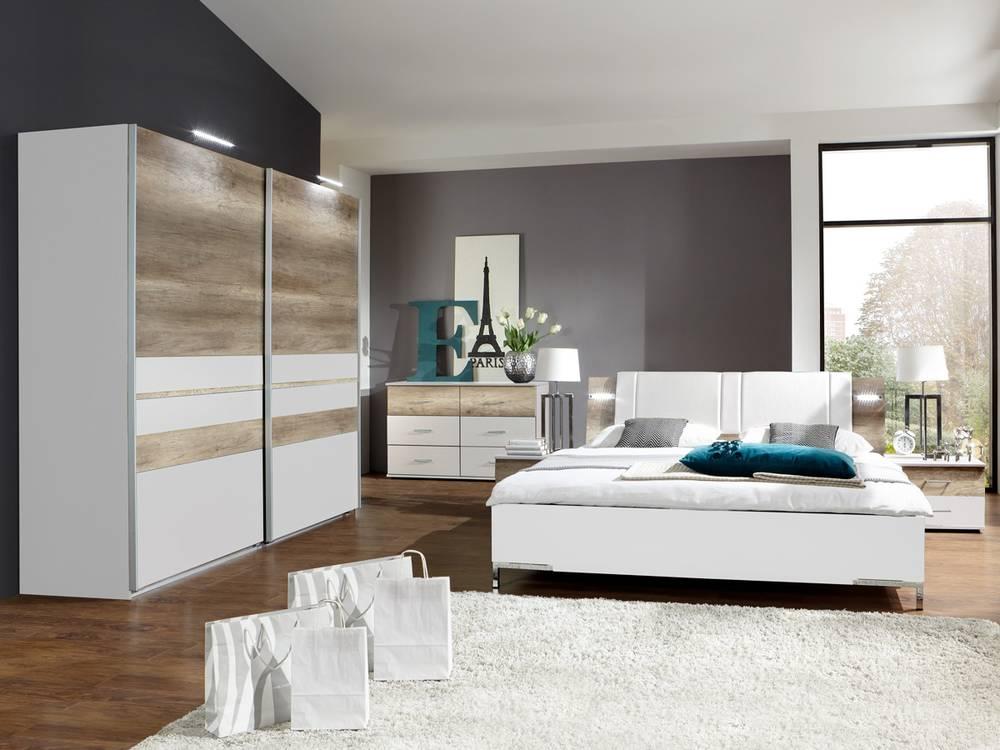 Schlafzimmer Komplett Zu Verschenken Munchen : Komplett Schlafzimmer MUNICH weissWildeiche  180 x 200 cm  225 cm