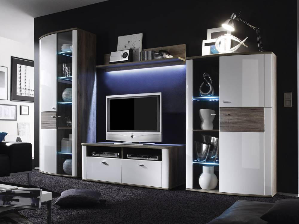 malina wohnwand i wei san remo eiche. Black Bedroom Furniture Sets. Home Design Ideas