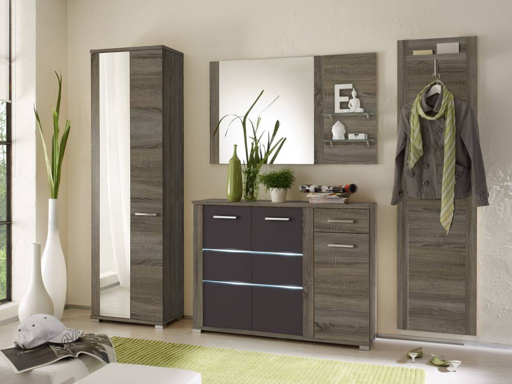 marika komplettgarderobe schrank garderoben set garderobe eiche sonoma dunkel ebay. Black Bedroom Furniture Sets. Home Design Ideas