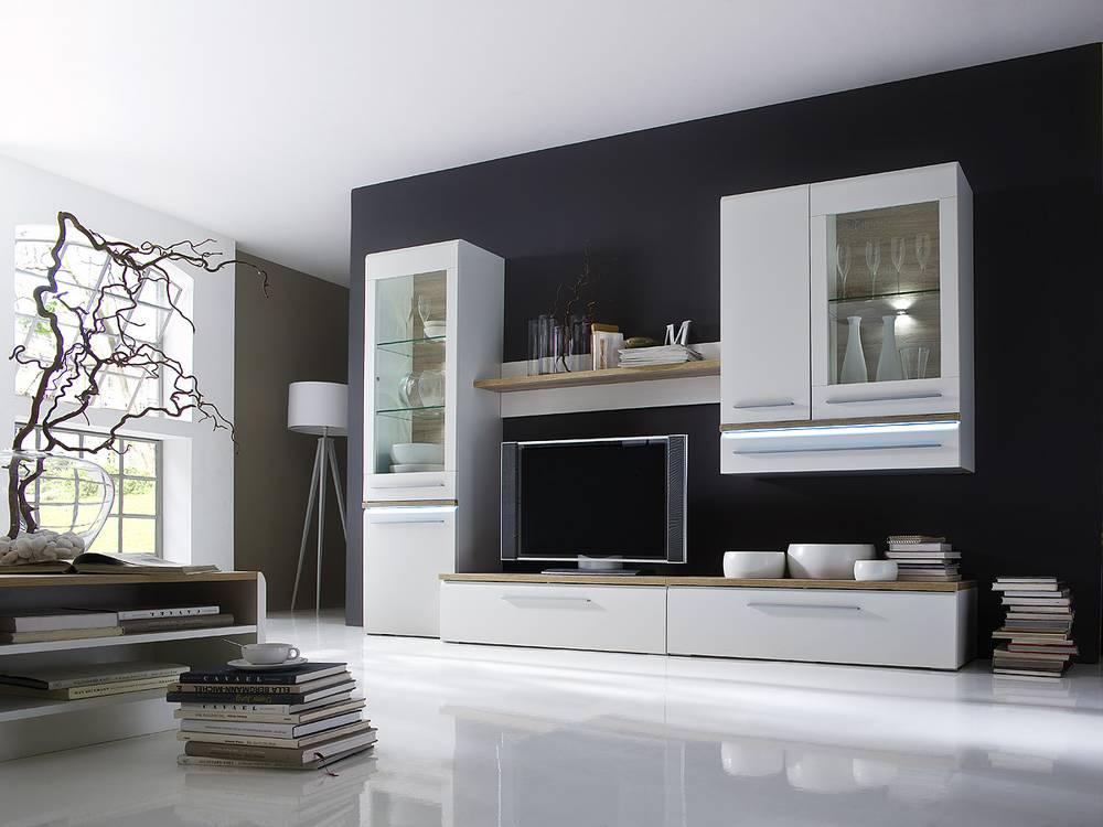 merkur wohnwand ii wei sonoma eiche. Black Bedroom Furniture Sets. Home Design Ideas