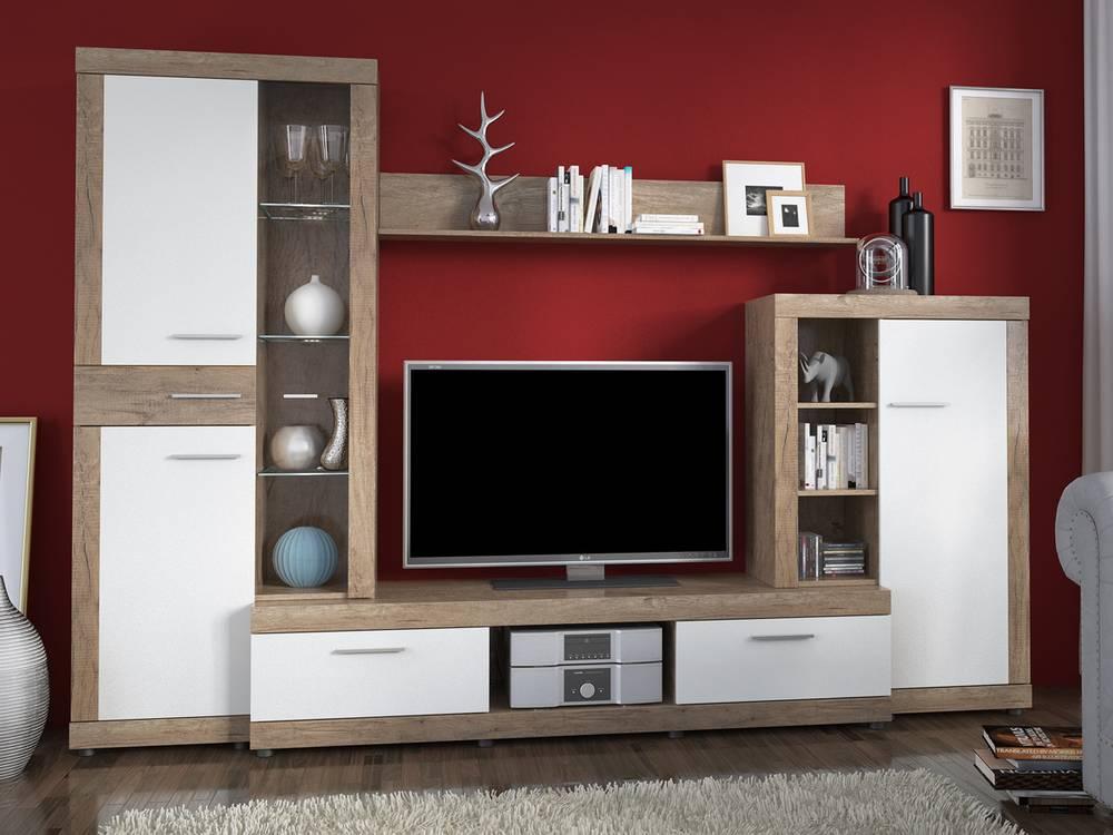 montana wohnwand wohnzimmerwand anbauwand inkl beleuchtung weiss wei grau. Black Bedroom Furniture Sets. Home Design Ideas