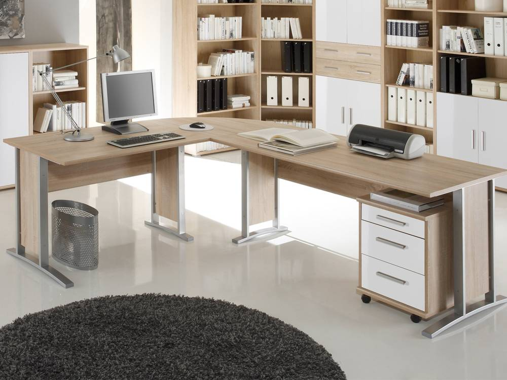 office line b ro winkelkombination schreibtisch arbeitstisch eiche sonoma wei ebay. Black Bedroom Furniture Sets. Home Design Ideas