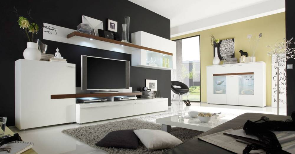 peaches wohnwand ii weiss walnuss. Black Bedroom Furniture Sets. Home Design Ideas