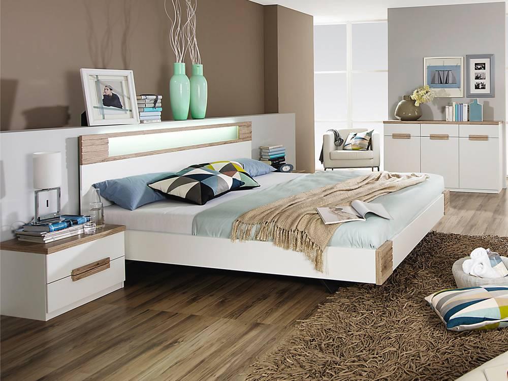 paula bettanlage futonbett weiss san remo eiche hell 180 x 200 cm. Black Bedroom Furniture Sets. Home Design Ideas