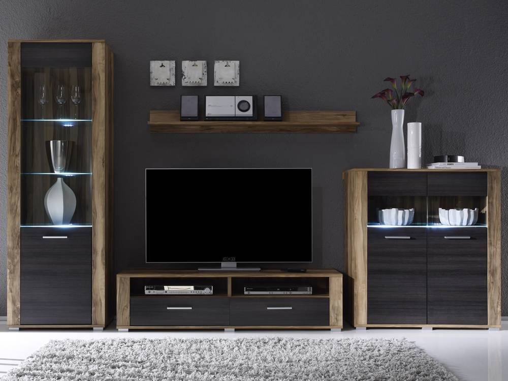 penny wohnwand i nussbaum wenge ohne beleuchtung. Black Bedroom Furniture Sets. Home Design Ideas