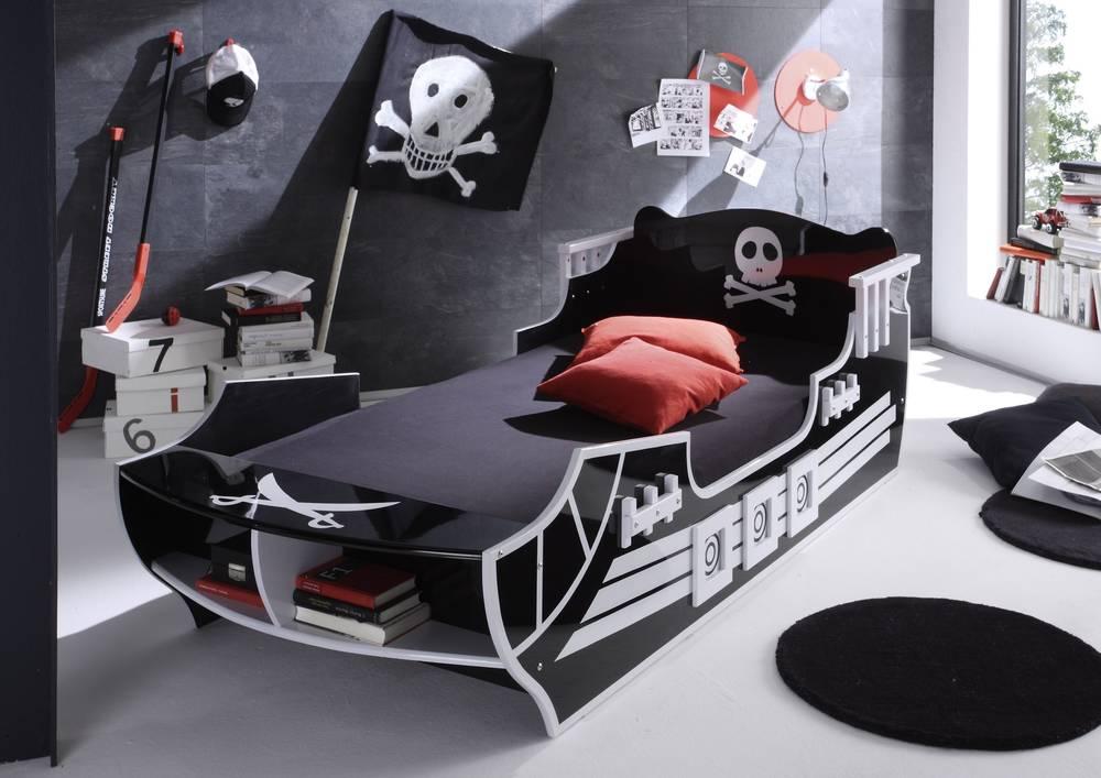 PIRAT Kinderbett Piratenbett Bett Schwarz Weiß Piratenmotiv Piratenschiff 90x200  eBay