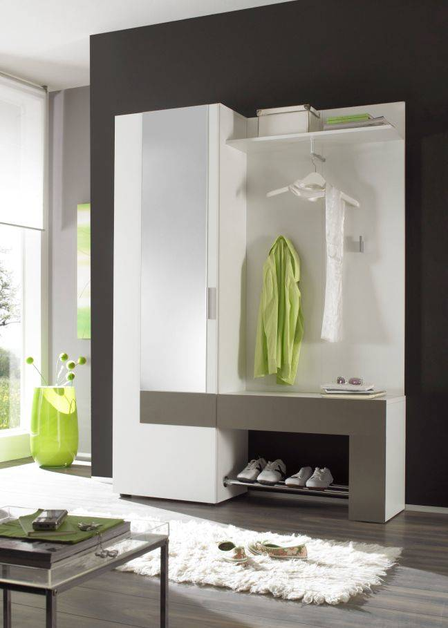 back kompaktgarderobe flur schrank garderoben set garderobe wei anthrazit ebay. Black Bedroom Furniture Sets. Home Design Ideas