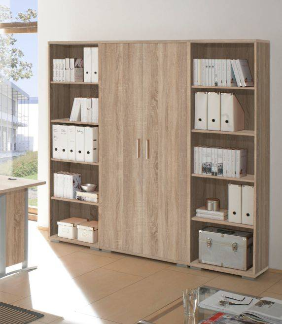 office line regalwand 2 offene regale 1 schrank eiche. Black Bedroom Furniture Sets. Home Design Ideas
