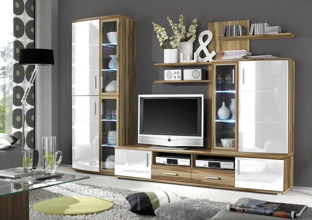 romy wohnwand anbauwand tv wand baltimore wei dekor. Black Bedroom Furniture Sets. Home Design Ideas