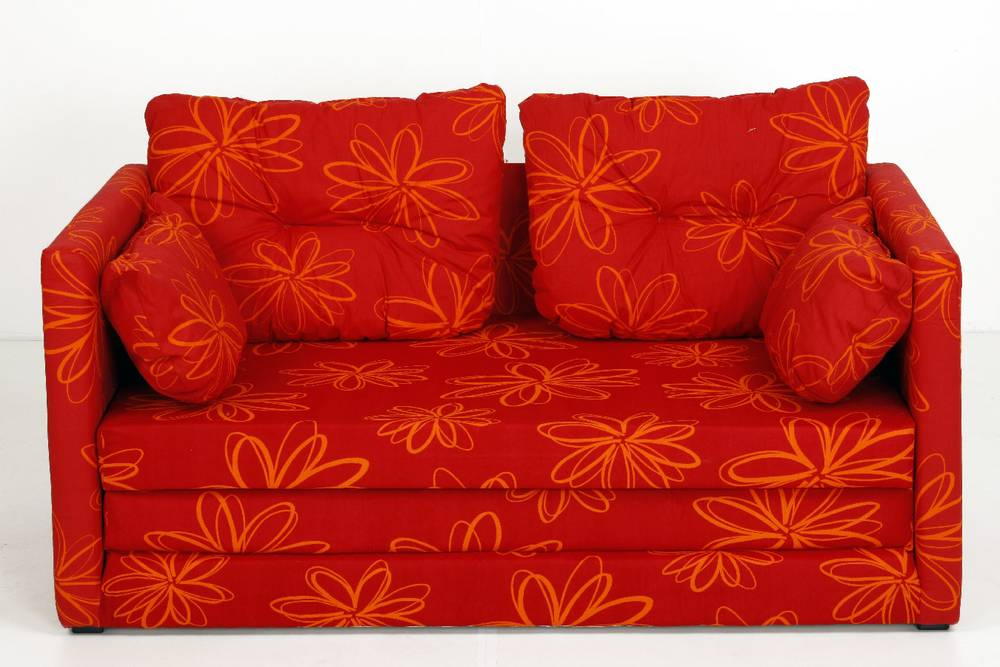 davos schlafcouch trendiges sofa schlafsofa kindersofa schlaffunktion blumen rot ebay. Black Bedroom Furniture Sets. Home Design Ideas