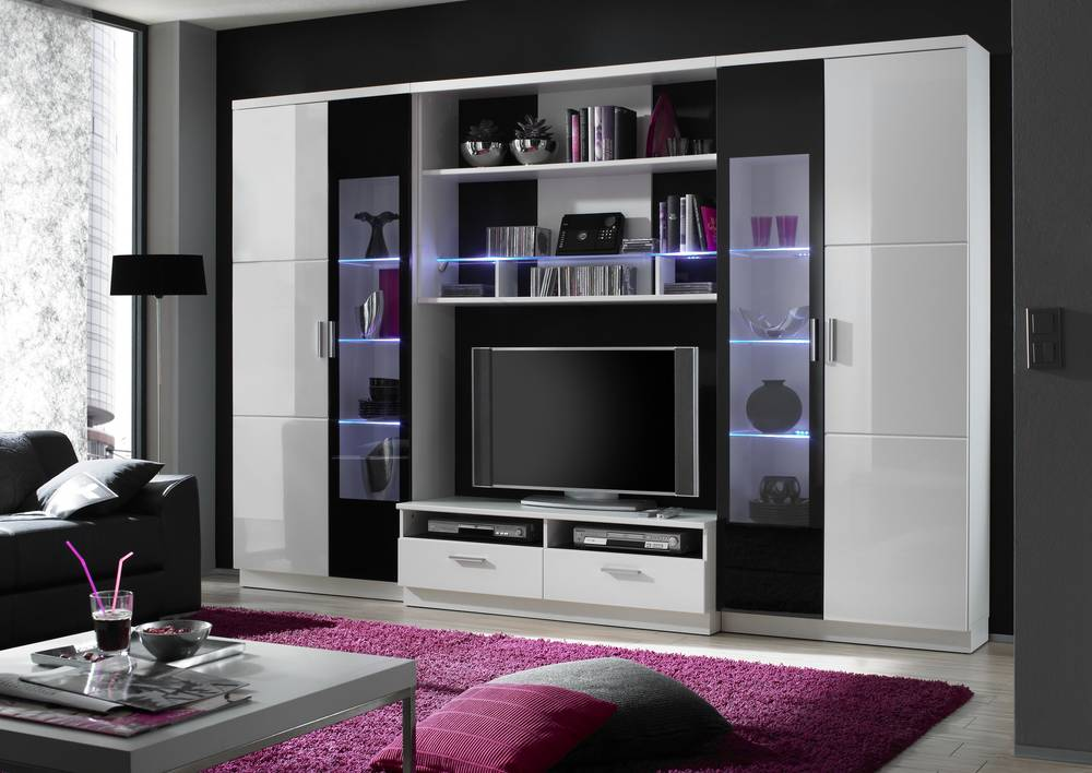 sansi wohnwand anbauwand schrankwand tv wand regalwand wei schwarz hochglanz ebay. Black Bedroom Furniture Sets. Home Design Ideas
