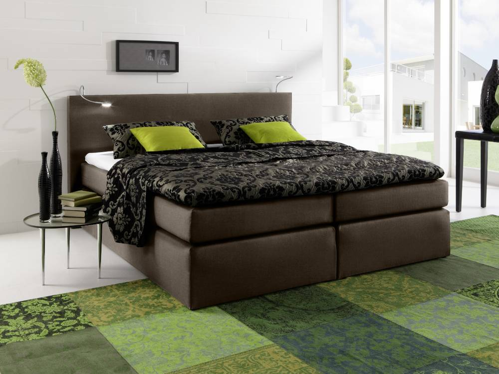 savanna boxspringbett doppelbett schlafzimmer hochwertig 140 x 200 cm braun ebay. Black Bedroom Furniture Sets. Home Design Ideas