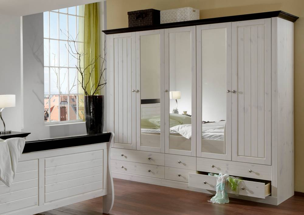 monaco kleiderschrank schrank schlafzimmerschrank 5trg 6 sch be white wash wenge ebay. Black Bedroom Furniture Sets. Home Design Ideas