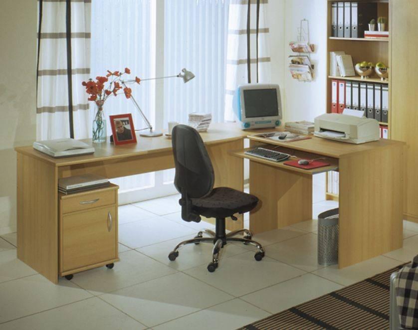 Office compact winkelkombination buche dekor schreibtisch for Kleiner schreibtisch buche