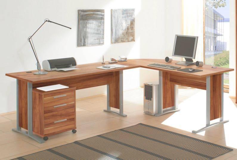Winkelschreibtisch Eckschreibtisch Schreibtisch Büro OFFICE LINE   Dekor Walnuss   eBay