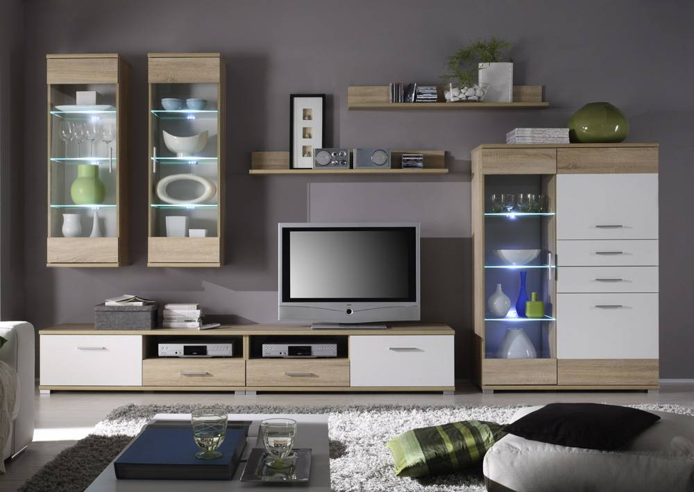 wohnwand tv wand schrankwand selina lux eiche sonoma wei dekor ebay. Black Bedroom Furniture Sets. Home Design Ideas