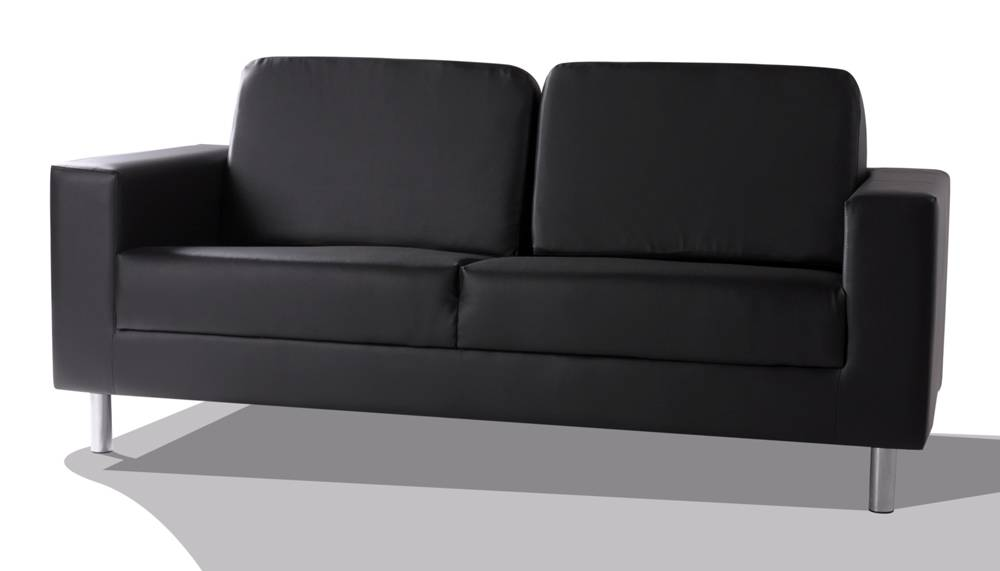susi dreisitzer couch sofa polsterm bel f e metall chrom kunstleder schwarz ebay. Black Bedroom Furniture Sets. Home Design Ideas