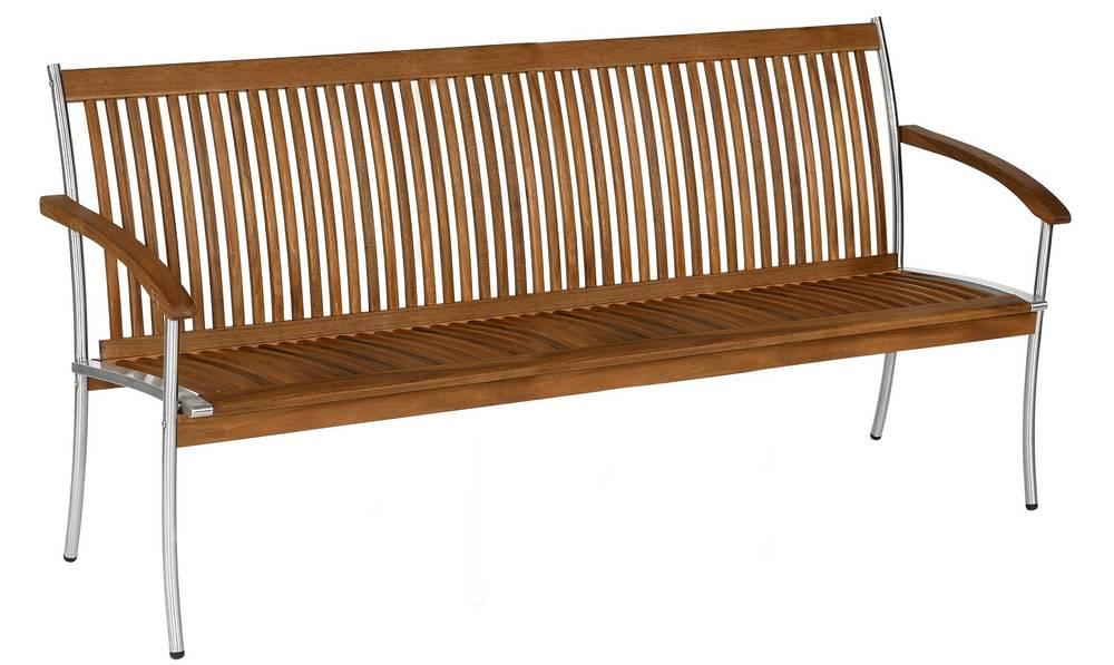 singapur i 3 sitzer gartenbank parkbank edelstahl akazie. Black Bedroom Furniture Sets. Home Design Ideas