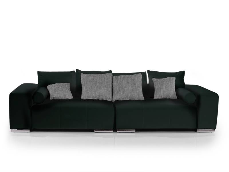 jumbo big sofa pflegeleichte couch stabil inkl kissen kunstleder l 282 schwarz ebay. Black Bedroom Furniture Sets. Home Design Ideas