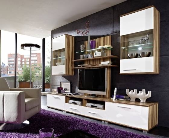 wohnwand anbauwand schrankwand fernsehwand spocky baltimore walnuss weiss ebay. Black Bedroom Furniture Sets. Home Design Ideas