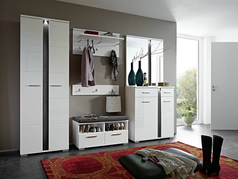 spots garderobekombi i diele garderobenset komplettgarderobe weiss schiefer. Black Bedroom Furniture Sets. Home Design Ideas