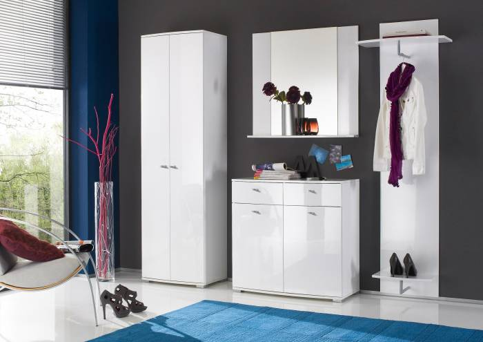 style komplett garderobe garderoben set dielen set 4 tlg lack hochglanz wei ebay. Black Bedroom Furniture Sets. Home Design Ideas