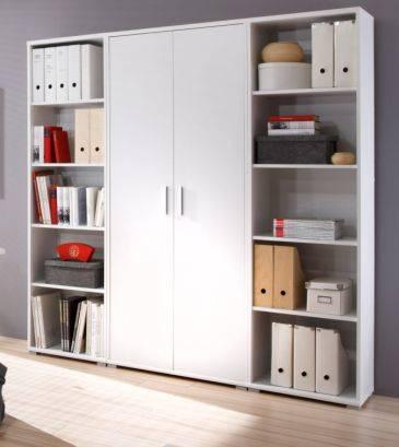 office line regalwand 2 offene regale 1 schrank wei weiss dekor b185 h185 t35 ebay. Black Bedroom Furniture Sets. Home Design Ideas