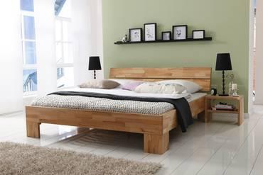 LÖWEN/Woodline Doppelbett/Massivholzbett 200 x 200 | Buche geölt | Löwe