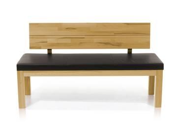 SALIMA Sitzbank mit Rücken Massivholz 130 cm | Eiche geölt | dunkelbraun
