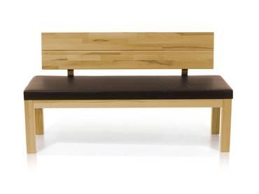 SALIMA Sitzbank mit Rücken Massivholz 130 cm | Eiche geölt | rehbraun