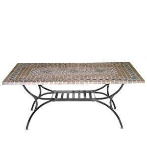 Mataro Sandstein Tisch 180x100 cm Mosaik coffee/black